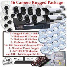 rugged package 16cam 256x256 - 16 Camera HD over Coax (TVI) Package