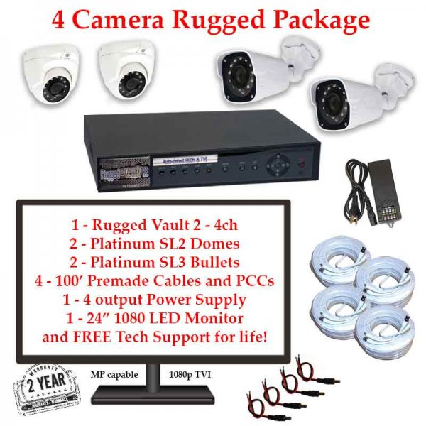 rugged package 4cam 600x600 - 4 Camera HD over Coax (TVI) Package