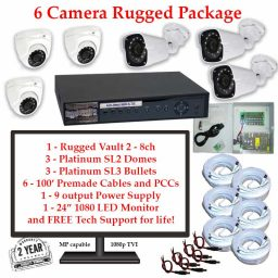 rugged package 6cam 256x256 - 6 Camera HD over Coax (TVI) Package