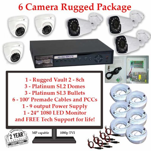 rugged package 6cam 510x510 - 6 Camera HD over Coax (TVI) Package
