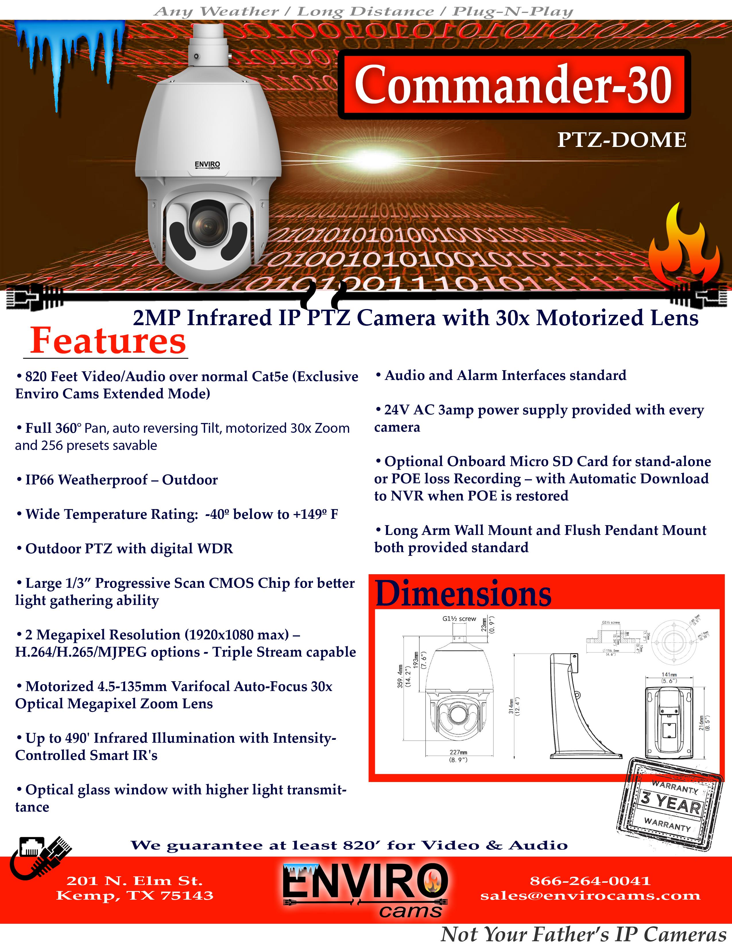 Commander30PTZSpecPage1 - Commander-30 Infrared Starlight PTZ