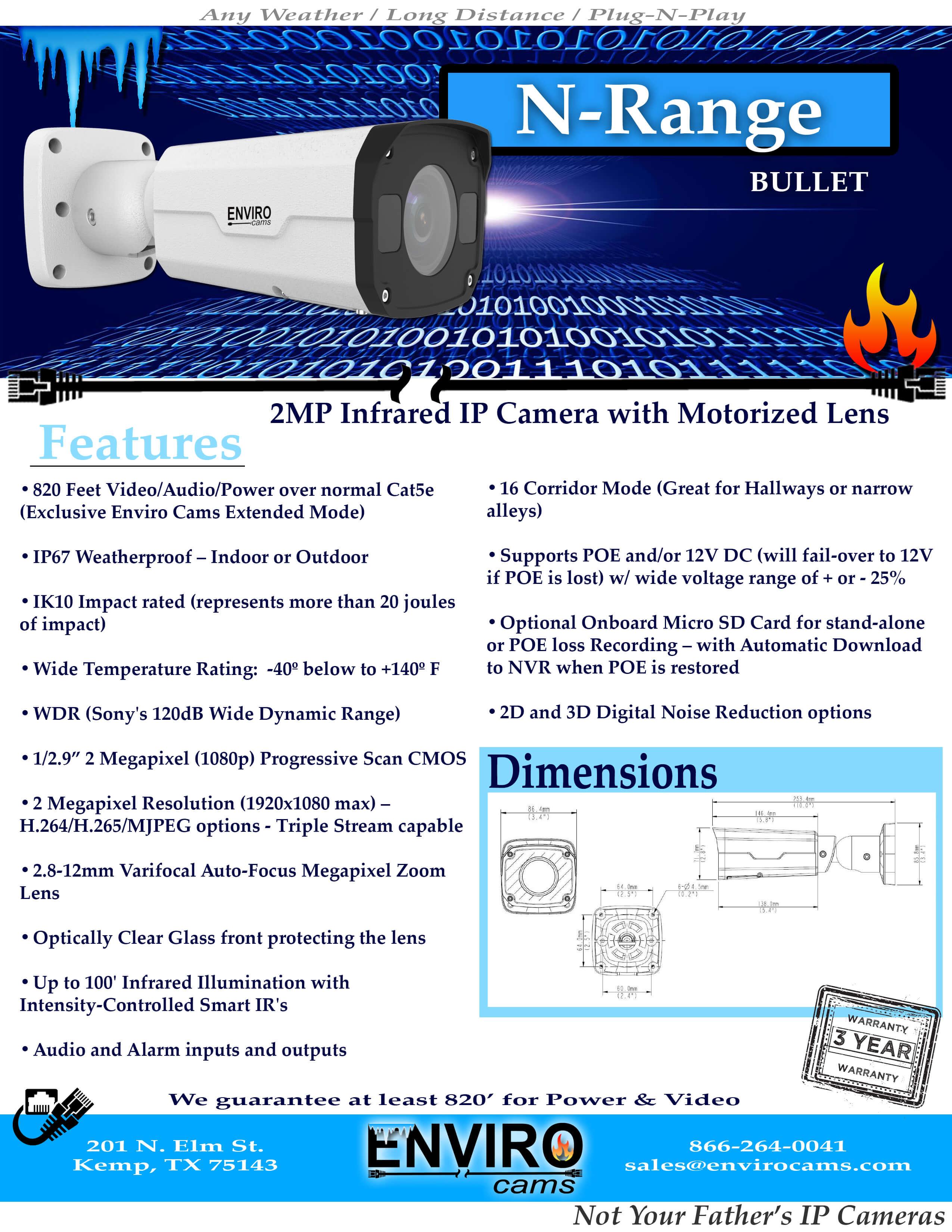 NRangeSpecPage1 - N-Range Bullet Camera
