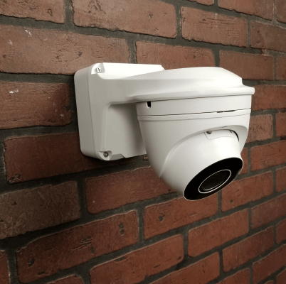 Occulus mounted with WM03 402x400 - Wall Mount / Junction Box for  the Occulus / Micron & Sentinel Dome Cameras