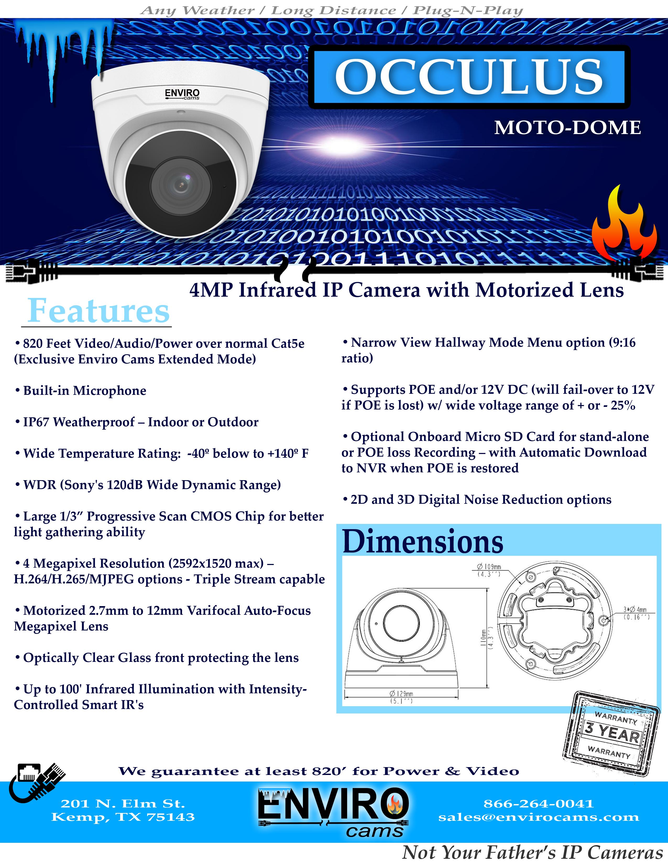 OcculusSpecs1 - IP Camera Occulus Moto Dome