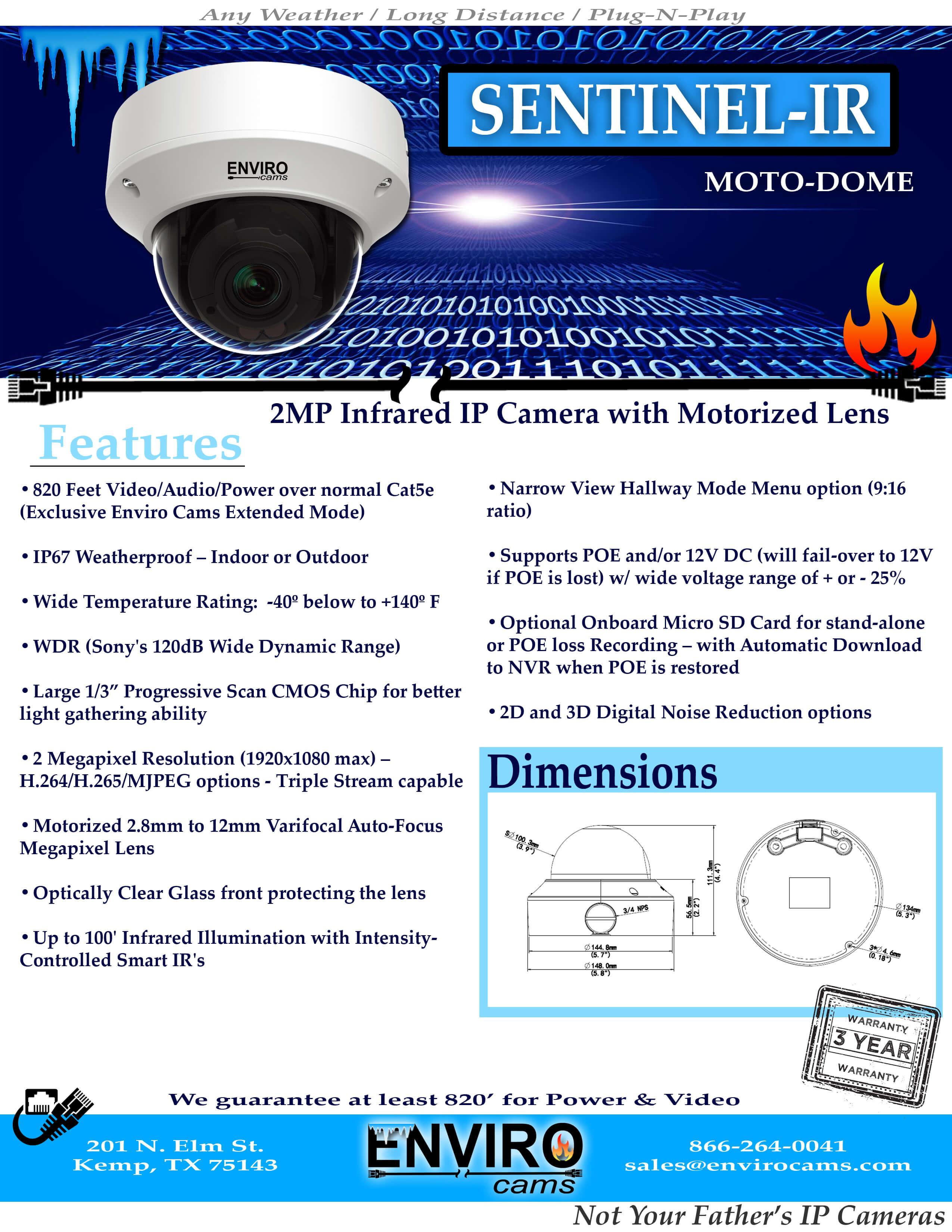 SentinelIRSpecPage1 - Sentinel-IR Moto-Dome