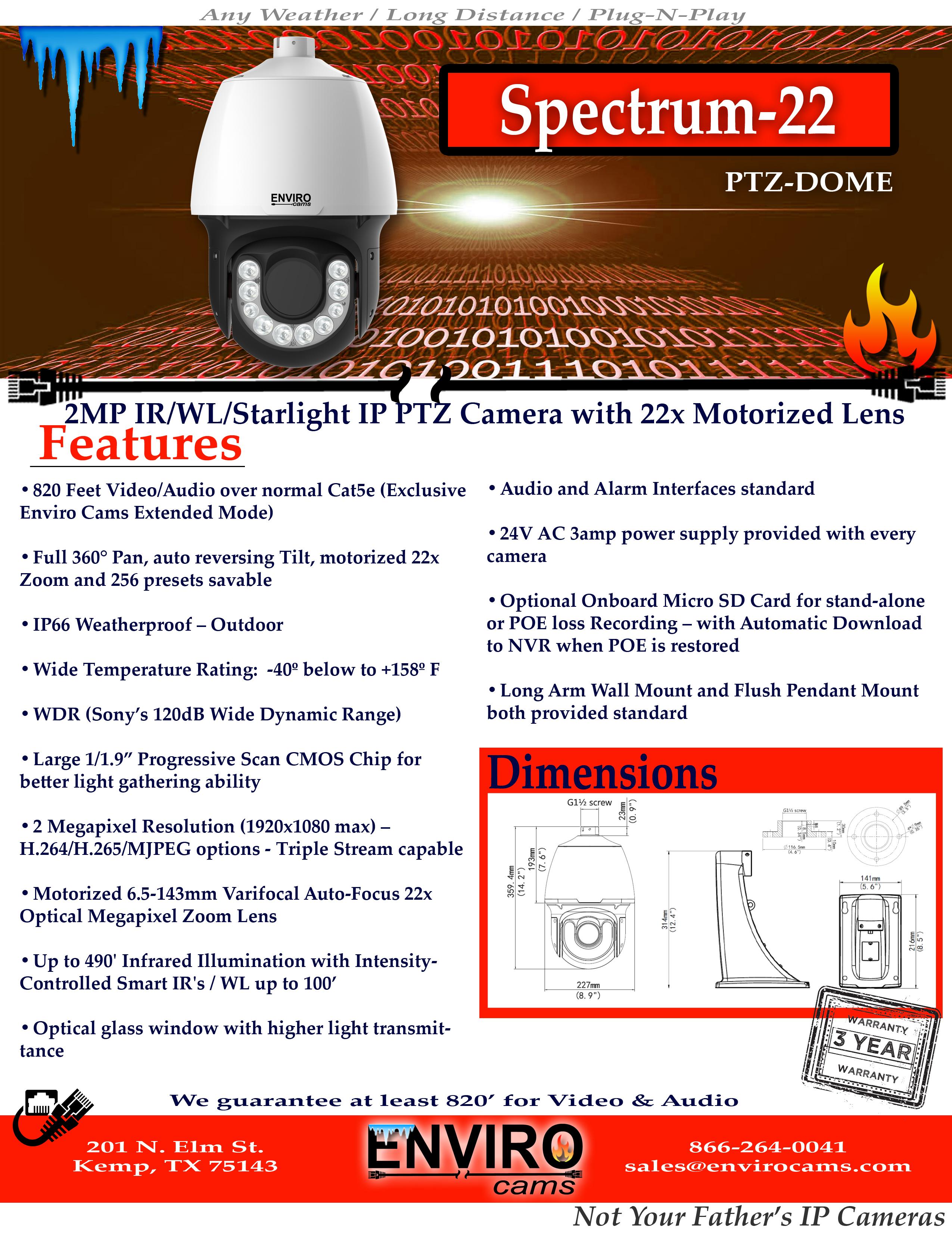 Spectrum22PTZSpecPage1 - Spectrum-22 Infrared & White Light PTZ