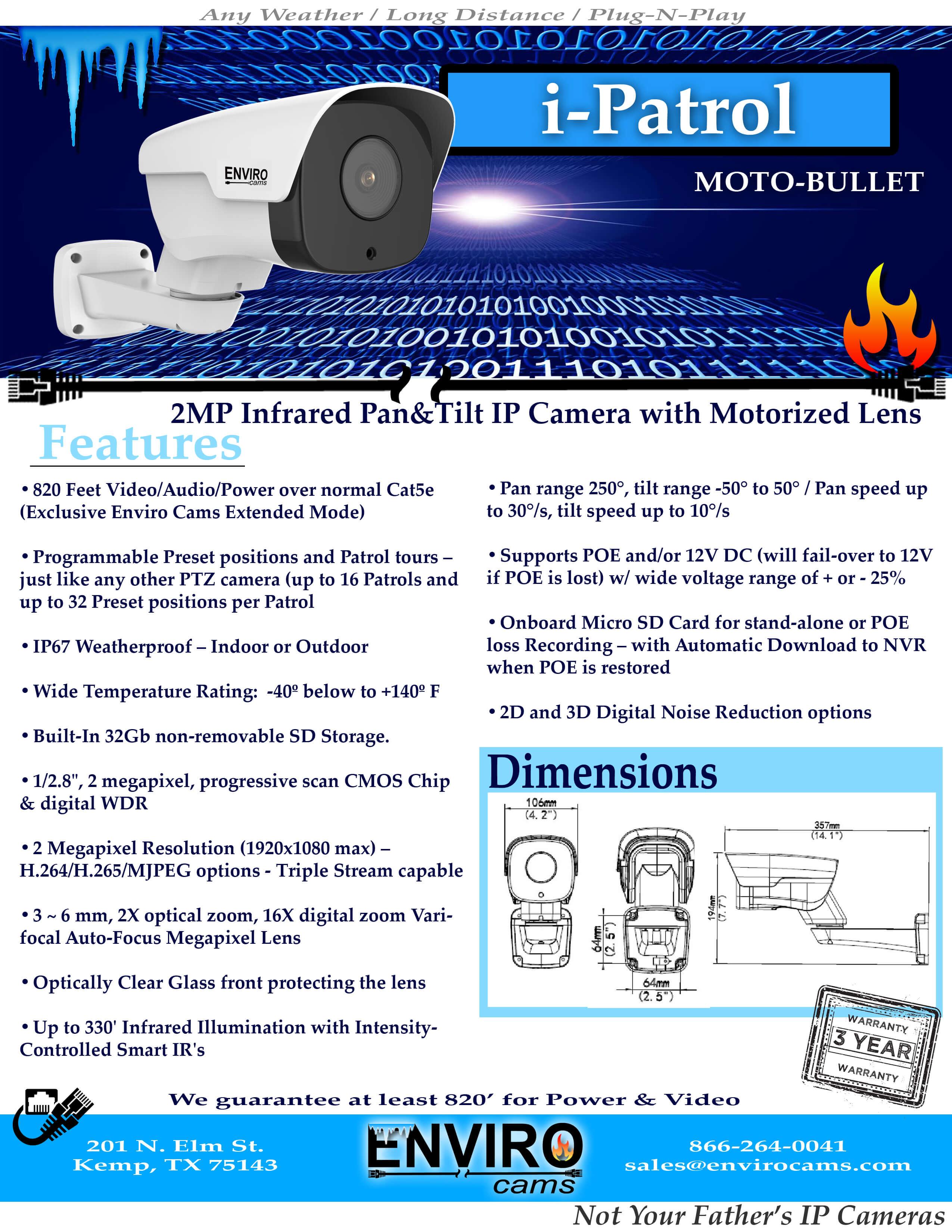 iPatrolSpecPage1 - i-Patrol PTZ Bullet Camera