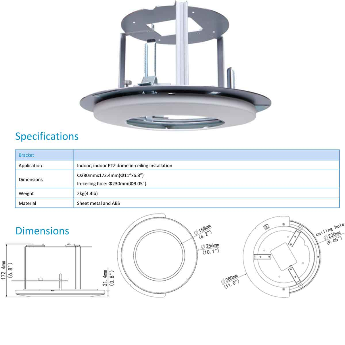 indy 22 specifications - Recessed Ceiling Mount