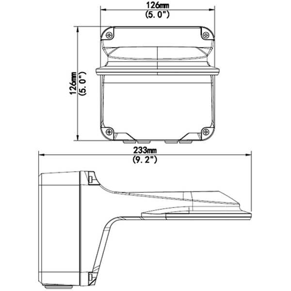 occulus micron drawing - Wall Mount / Junction Box for  the Occulus / Micron & Sentinel Dome Cameras