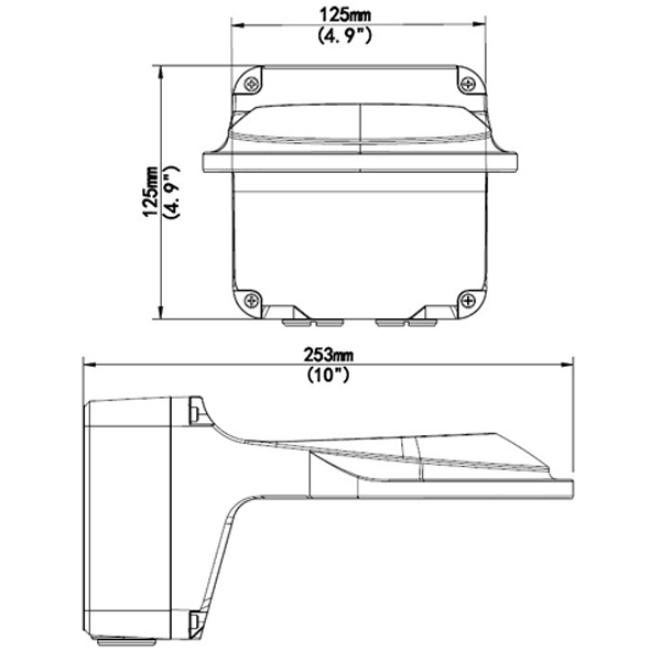 sentinel drawing - Wall Mount / Junction Box for  the Occulus / Micron & Sentinel Dome Cameras