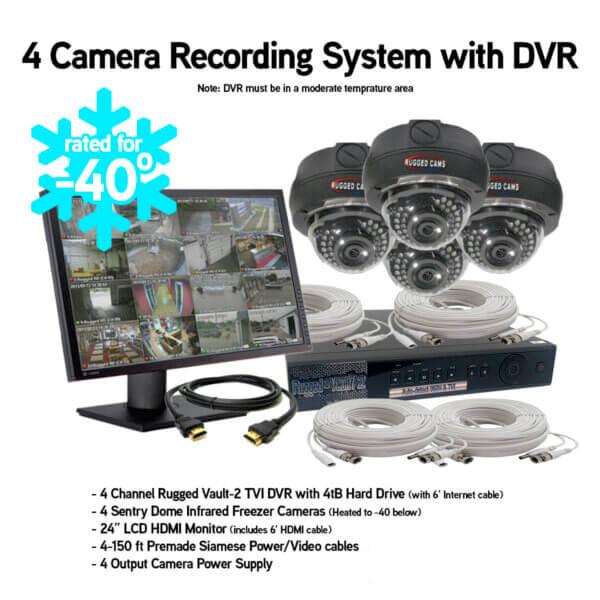 4 freezer security camera recording system